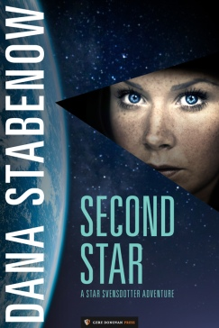 Book cover: Second Star - Dana Stabenow (a blue-eyed woman stares out past the curve of the moon)