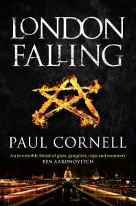 Book cover: London Falling - Paul Cornell (a flaming pentagram above a night-time London skyline)