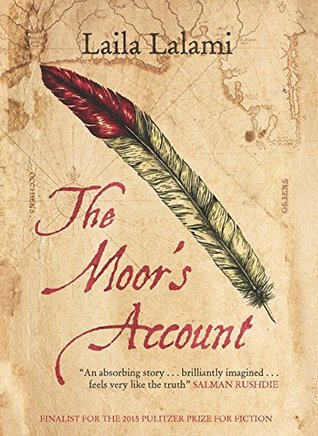 Book cover: The Moor's Account - Laila Lalami (a red-tipped quill on a parchment texture background)