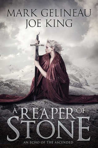 Book cover: A Reaper of Stone - Gelineau and King (a pale blonde woman in a red cloak sits with a large sword as if praying)