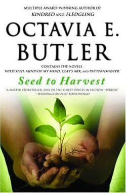 Book cover: Seed to Harvest - Octavia Butler (a seedling cradled in brown hands)