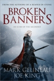 Book Cover: Broken Banners - Mark Gelineau and Joe King (a pale blonde woman in serious armour wields two swords against a wintry backdrop of mountains and lake)