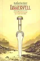 Book Cover: Daggerspell - Katharine Kerr (a silver dagger with a green pommel over a backdrop of a stony river valley)