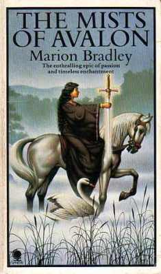 Book cover: The Mists of Avalon - Marion Zimmer Bradley (a woman on a white horse slowing walking through mists holding a sword, accompanied by a swan)