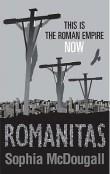 Book cover: Romanitas - Sophia McDougall (a line of crucifixes)
