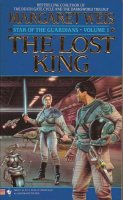 Book Cover: The Lost King - Star of the Guardians 1 - Margaret Weis (a blonde woman with a lightsaber glaring at a dark-haired man on a hangar deck)