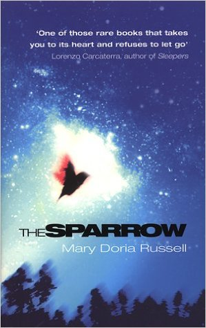 Book Cover: The Sparrow - Mary Doria Russell (a bird in flight against an evening sky)