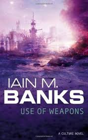 Book cover: Use of Weapons - Iain M Banks (purple hued vision of a many-gunned warship in front of a city skyline)
