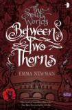 Book cover: Between Two Thorns - Emma Newman (curlicued text on a deep red background, surrounded by line drawings of Georgian buildings, flowers and gargoyles)