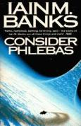 Book cover: Consider Phlebas - Iain M Banks (the crisp blue curve of a ring world, with a spaceship diving down into it)