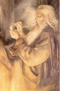 Gandalf smoking a pipe, painted by Alan Lee