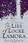 Book Cover: The Lies of Locke Lamora (A vaguely Venetian city is silhouetted in silver against a dark blue sky)
