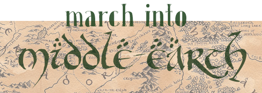March into Middle-Earth (text banner over background of Tolkien's map)