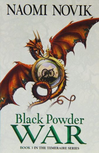 Book cover: Black Powder War - Naomi Novik (a red dragon coiled about a glass bauble holding a field gun)