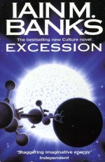 Book cover: Excession - Iain M Banks (a spaceship silhouetted in front of a star)