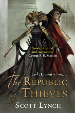 Book cover: The Republic of Thieves - Scott Lynch (gorgeously dressed couple in Venetian masks and elaborate hats)