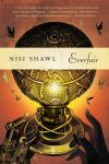 Book cover: Everfair - Nisi Shawl (one real hand and one metal hand reach for a metallic globe)