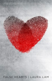 Book cover: False Hearts - Laura Lam (a heart image comprised of two overlapping fingerprints on a silver background)