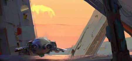 Damage - illustration by Victor Mosquera. An indistinct figure stands alongside an aircraft against a sunset sky.