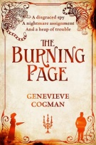 Book cover: The Burning Page - Genevieve Cogman (mostly text treatment, with a silhouette of a man and a woman in period dress)