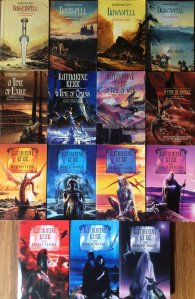 All the Deverry books in trade edition showing off the gorgeous artwork (strong colours, dragons, moody half-lit characters in dramatic poses)