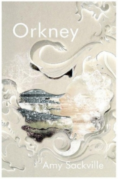 Book cover: Orkney - Amy Sackville (suggestive swirls of cream like sea foam; it's a bit of a Rorschach)