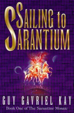 Book cover: Sailing to Sarantium - Guy Gavriel Kay (a fiery chariot against a purple mosaic tiled background)
