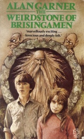 Book cover: The Weirdstone of Brisingamen - Alan Garner (two children with solemn faces in front of a wild-haired old man)