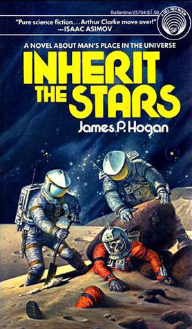 Book cover: Inherit the Stars - James P Hogan (two white-clad astronauts dig up the red-clad skeletal body of a third)