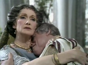 TV still: Livia (Sian Phillips) comforts Augustus (Brian Blessed) in the BBC production of I, Claudius
