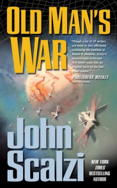 Book cover: Old Mans War - John Scalzi (spaceships in flight towards a pale peach planet)