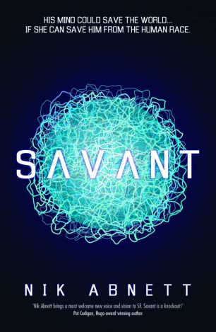 Book cover: Savant - Nik Abnett (an electric blue ball of glowing wires)