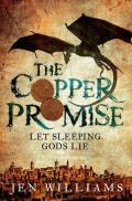 Book cover: The Copper Promise - Jen Williams (sepia painting, a dragon above a city)