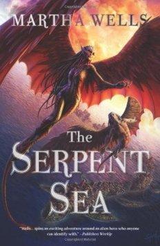 Book cover: The Serpent Sea - Martha Wells (two raksura in flight)