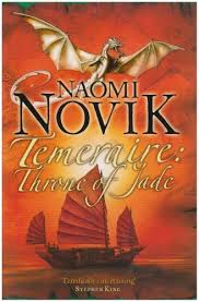 Book cover: Throne of Jade - Naomi Novik (first ed hardcover - a golden dragon in flight above a Chinese junk at sunset)