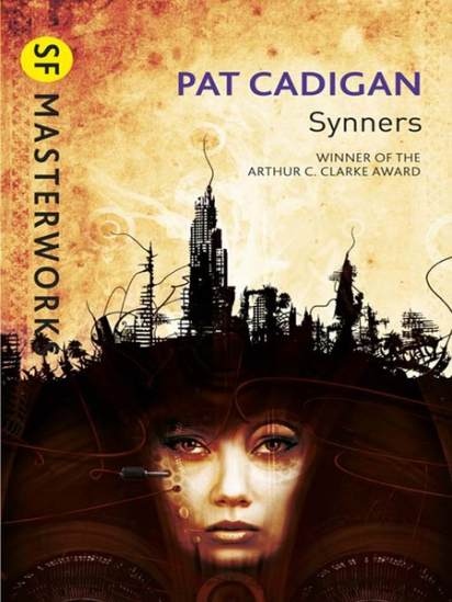 Book cover: Synners - Pat Cadigan (a woman's face from under a dark and tangled skyline)
