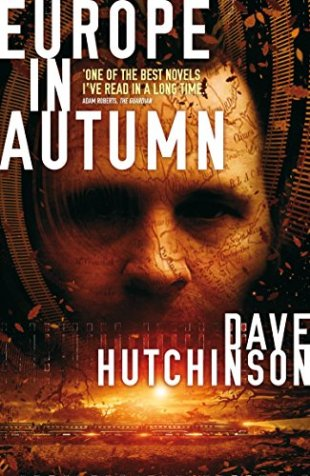 Book cover: Europe in Autumn - David Hutchinson (indistinct brown haired man's face)