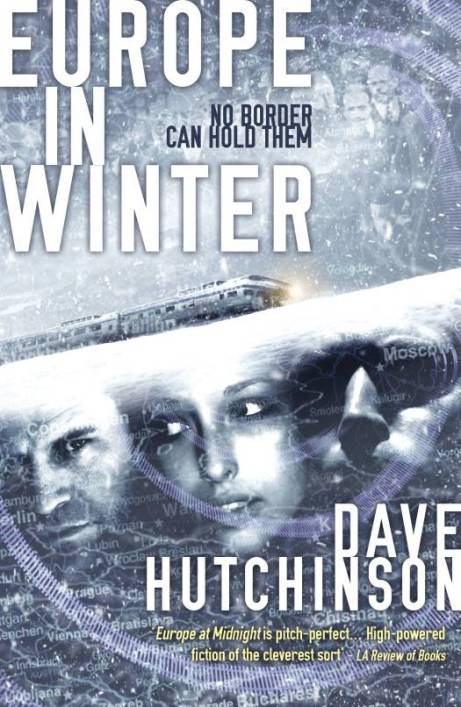 Book cover: Europe in Winter - Dave Hutchinson (3 faces reflected in an icy surface)