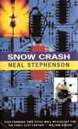 Book cover: Snow Crash - Neal Stephenson (1992 edition, circuitboard and fuzzy guitarist)