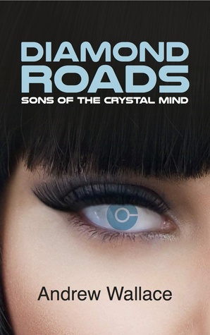 Book cover: Sons of the Crystal Mind - Andrew Wallace (close-up of a girls blue eye)