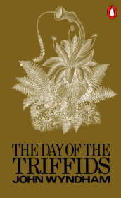 Book cover: The Day of the Triffids - John Wyndham (stylised triffid on a khaki green background)