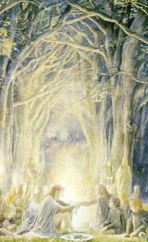 Alan Lee paintings of Gildor and the Elves talking to Frodo