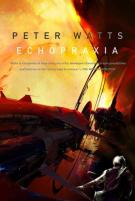 Book cover: Echopraxia - Peter Watts, a man in a space suit staring at the curve of the sun)