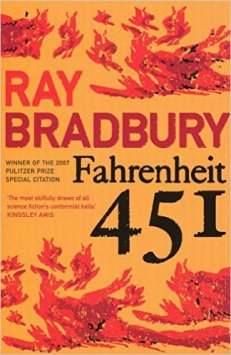 Book cover: Fahrenheit 451 - Ray Bradbury (text on yellow background with painted flames)