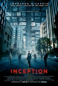 Movie poster: Inception (a group of people in a city street that bends around the sky)