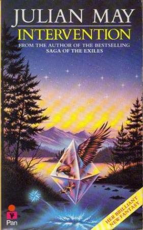 Book cover: Intervention - Julian May (an eagle inside a crystal over a lake. Better not to ask, really)