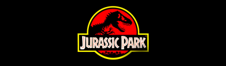 Jurassic Park logo (T-rex skeleton silhouetted on red lozenge with type overlaid) on black background