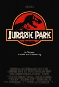 Movie poster: Jurassic Park (silhouette of a T-rex behind the logo)