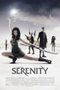 Movie poster: Serenity (River Tam poses with weaponry; the crew stand behind her on a pale plain)