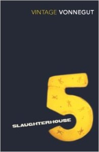 Book cover: Slaughterhouse 5 - Kurt Vonnegut (a yellow digit 5 on a dark background)
